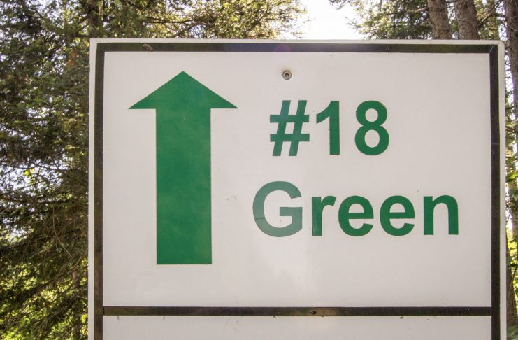 The Eighteenth Green. Directional sign for the 18th green on a golf course. ehrlif - stock.adobe.com