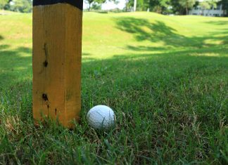 Golf Ball beside Marker Pole Getty Images/iStockphoto