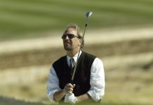 Kevin Costner watches bunker shot Getty Images