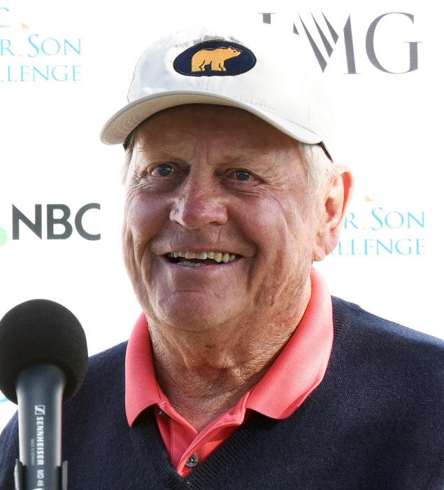 Legendary golfer Jack Nicklaus speaks to media during the SOPA Images/LightRocket via Gett