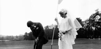 Bride and Groom Play Golf Hulton Deutsch